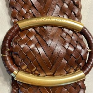 Escada belt brown leather size small women's italy